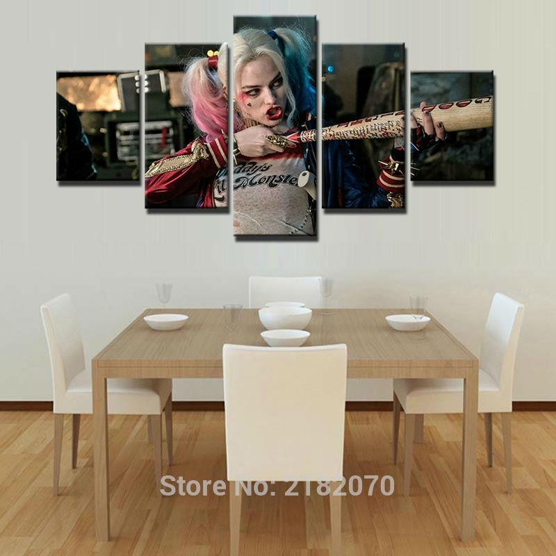 5 Piece Harley Quinn Suicide Squad Movie Canvas Painting Wall Art - It Make Your Day