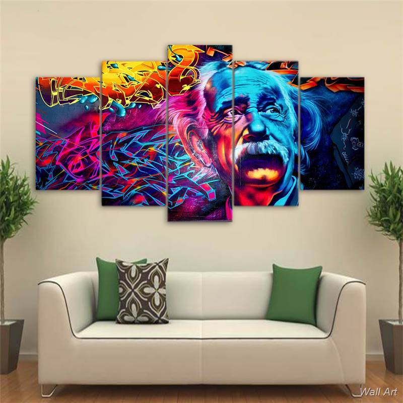 5 Piece Abstract Psychedelic Einstein Canvas Wall Art Paintings   It Make  Your Day
