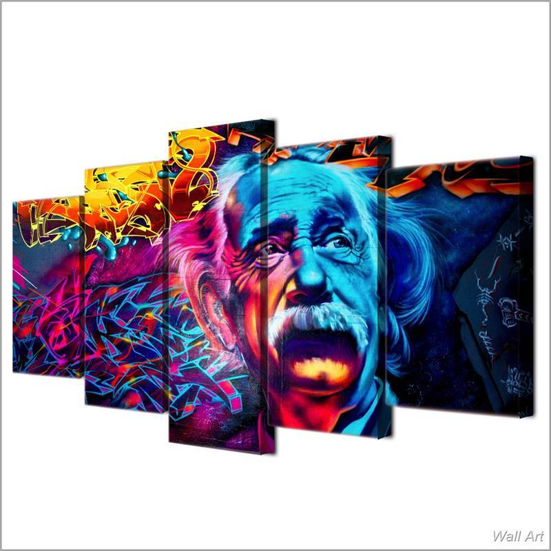... 5 Piece Abstract Psychedelic Einstein Canvas Wall Art Paintings - It Make Your Day & 5 Piece Abstract Psychedelic Einstein Canvas Wall Art Paintings Sale ...