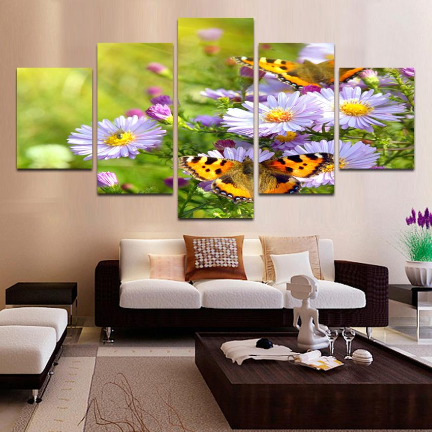 Framed 5 Piece Lovely Butterfly Canvas Wall Art Sets   It Make Your Day