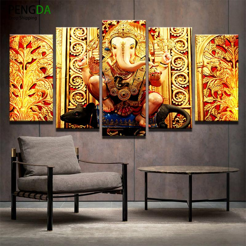 5 Piece Hindu God Ganesh Canvas Painting Wall Art - It Make Your Day