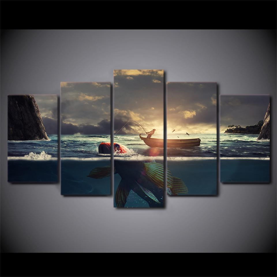 5 Piece Sunset Fishing Boat Canvas Wall Art Sets - It Make Your Day