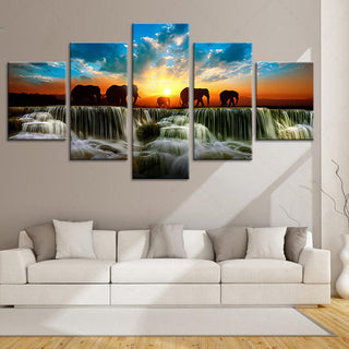 5 Piece Elephant Animal Sunset View Canvas Wall Art Paintings - It Make Your Day