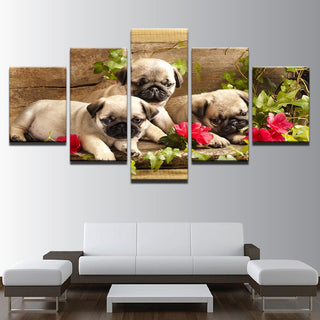 5 Pieces Pug Puppy and Flower Canvas