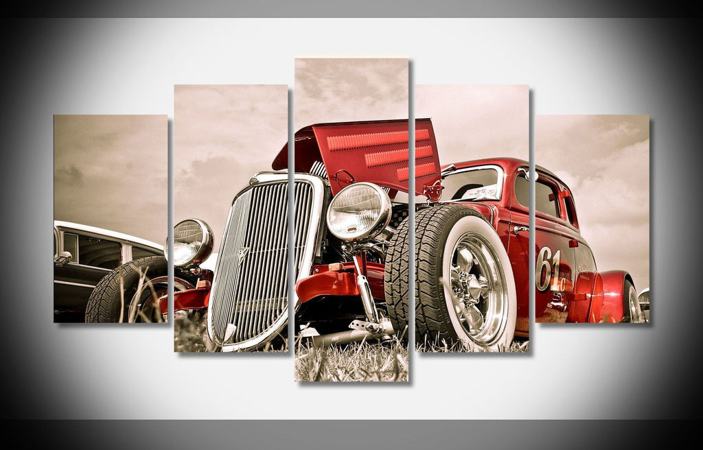 5 Pieces Hot Rod Car Vintage Prints Canvas - It Make Your Day