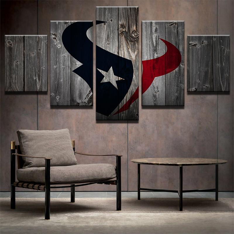 5 Piece Houston Texans Football Canvas Wall Art Paintings Sale It
