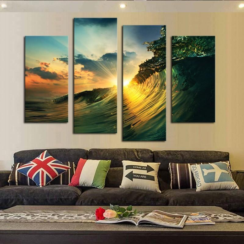 5 Piece Huge Sea Waves Sunset Canvas Painting Wall Art - It Make Your Day