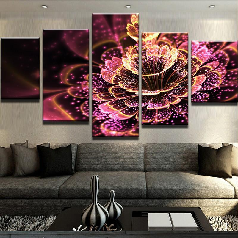 5 Piece Illuminating Flowers Canvas Wall Art Paintings - It Make Your Day