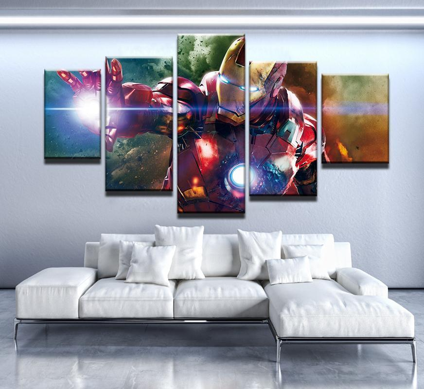 5 Piece Iron Man Color Shock Canvas Wall Art Paintings - It Make Your Day