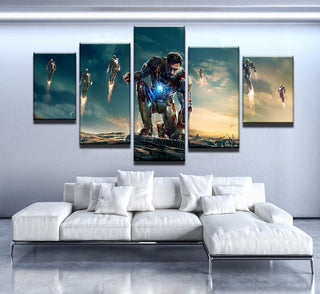5 Piece Iron Man Power Canvas Wall Art Paintings - It Make Your Day