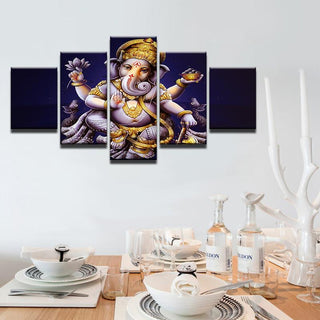 5 Piece India Ganesha Elephant Head God Canvas Painting Wall Art - It Make Your Day