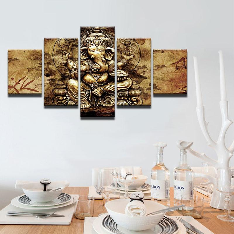 5 Piece India Ganesha Elephant Hindu God Canvas Painting Wall Art - It Make Your Day