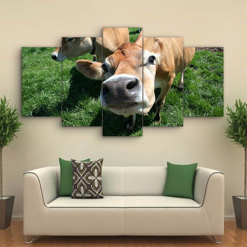 5 Piece Jersey Cows Canvas Paintings - It Make Your Day