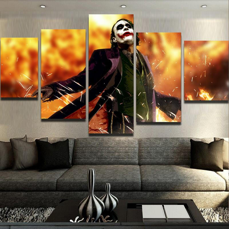 5 Piece Joker Glory Canvas Wall Art Paintings - It Make Your Day