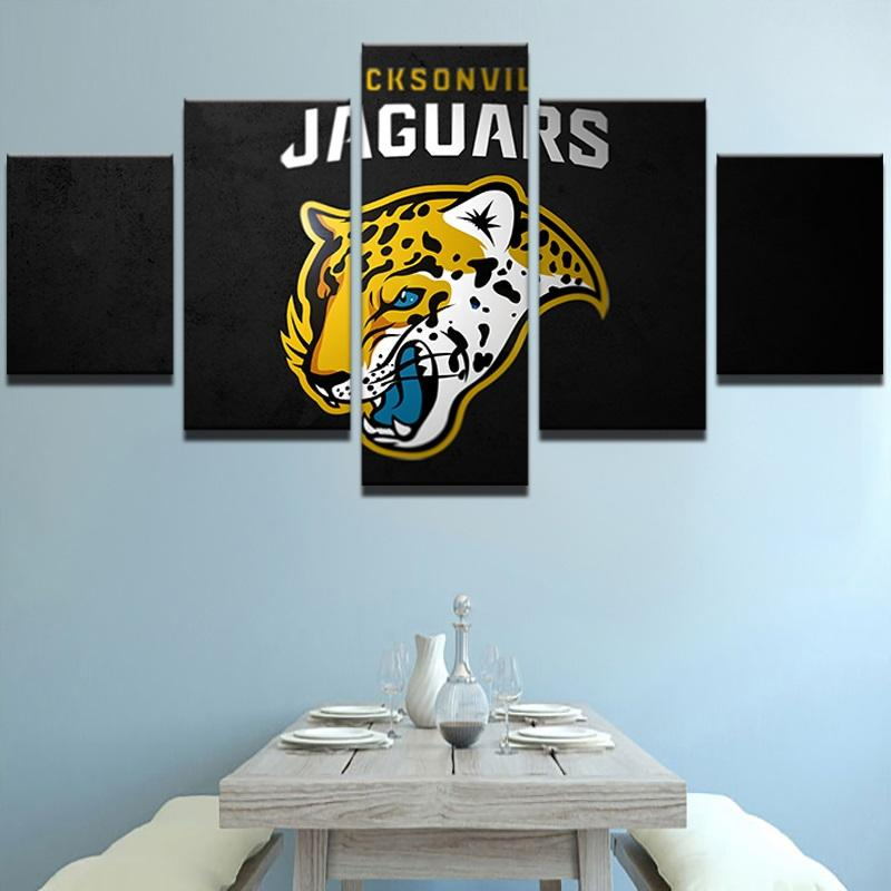 5 Piece Jacksonville Jaguars HD Rugby Canvas Paintings - It Make Your Day