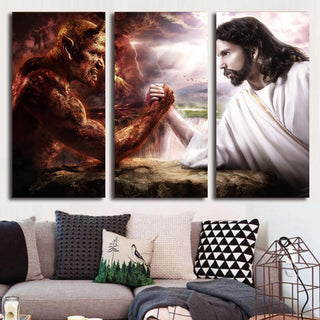"3 Piece Jesus ""Good Vs Evil"" Canvas Canvas Painting Wall Art - It Make Your Day"