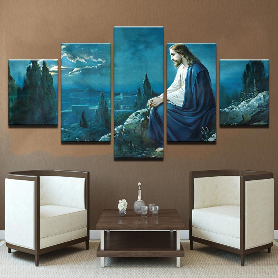 Framed 5 Piece Jesus Looking Over Jerusalem Canvas - It Make Your Day