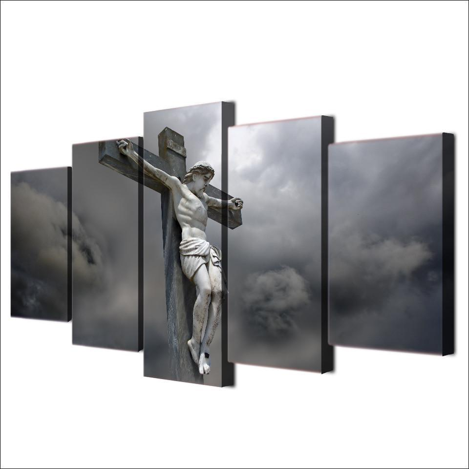 "5 Piece Jesus ""On Cross"" Canvas Painting Wall Art - It Make Your Day"