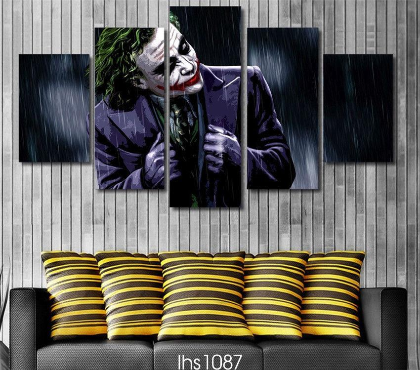 5 Piece Joker In the Dark Knight Movie Canvas Wall Art Paintings - It Make Your Day