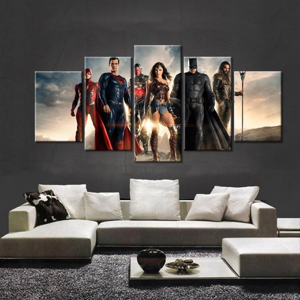5 Piece Justice League Poster Movie Canvas Painting Wall Art - It Make Your Day
