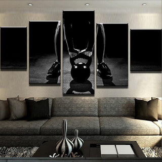 5 Piece Kettlebell Fitness Canvas Wall Art Paintings - It Make Your Day