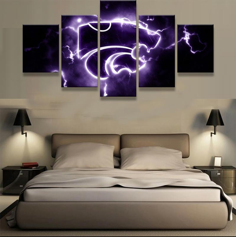 5 Piece Kansas State Wildcats American Football Canvas Painting Wall Art - It Make Your Day