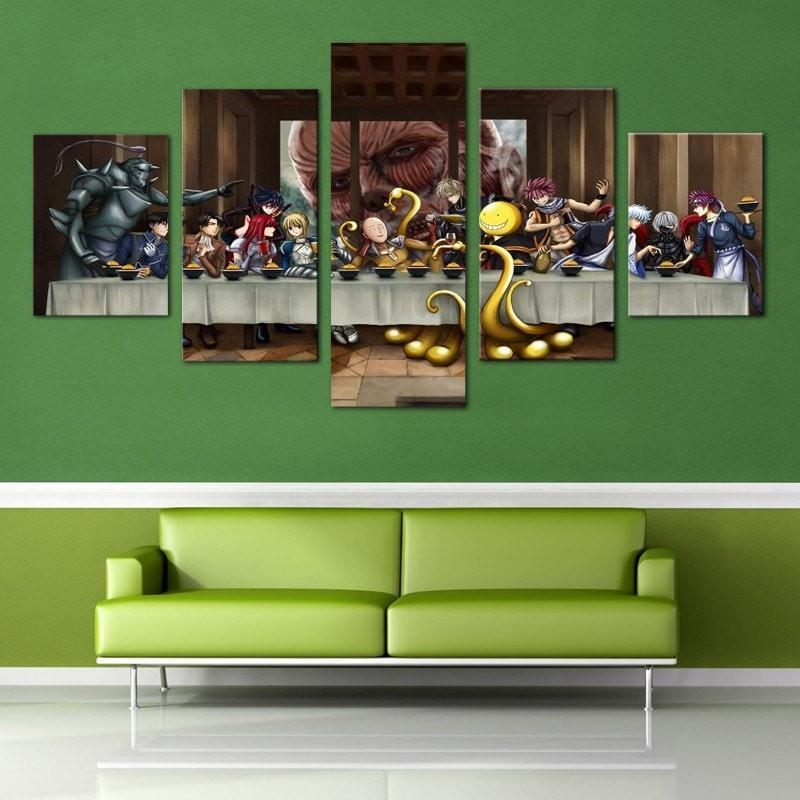 5 Piece Last Supper: Anime United Canvas Wall Art Paintings - It Make Your Day