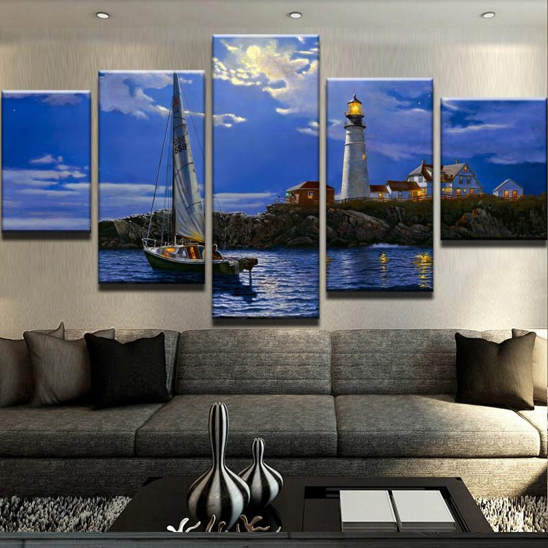 5 Piece Lighthouse Print Canvas Wall Art Paintings - It Make Your Day