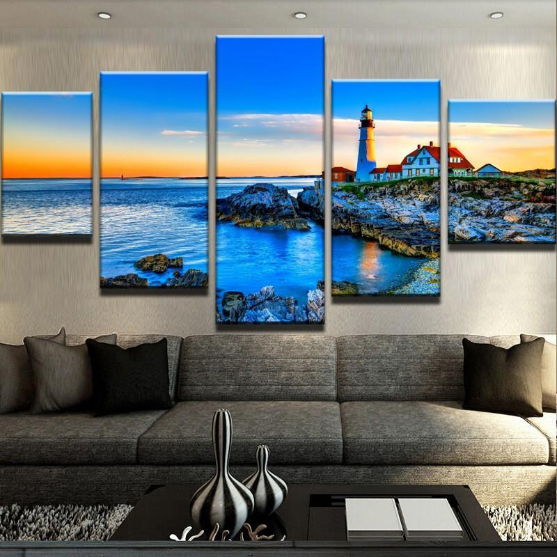 5 Piece Lighthouse In The Distance Canvas Wall Art Paintings - It Make Your Day