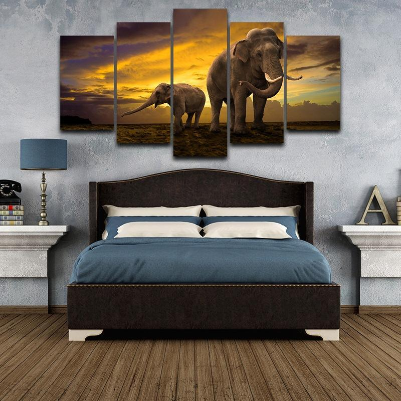 5 Piece Elephant Beauty Canvas Wall Art Paintings - It Make Your Day