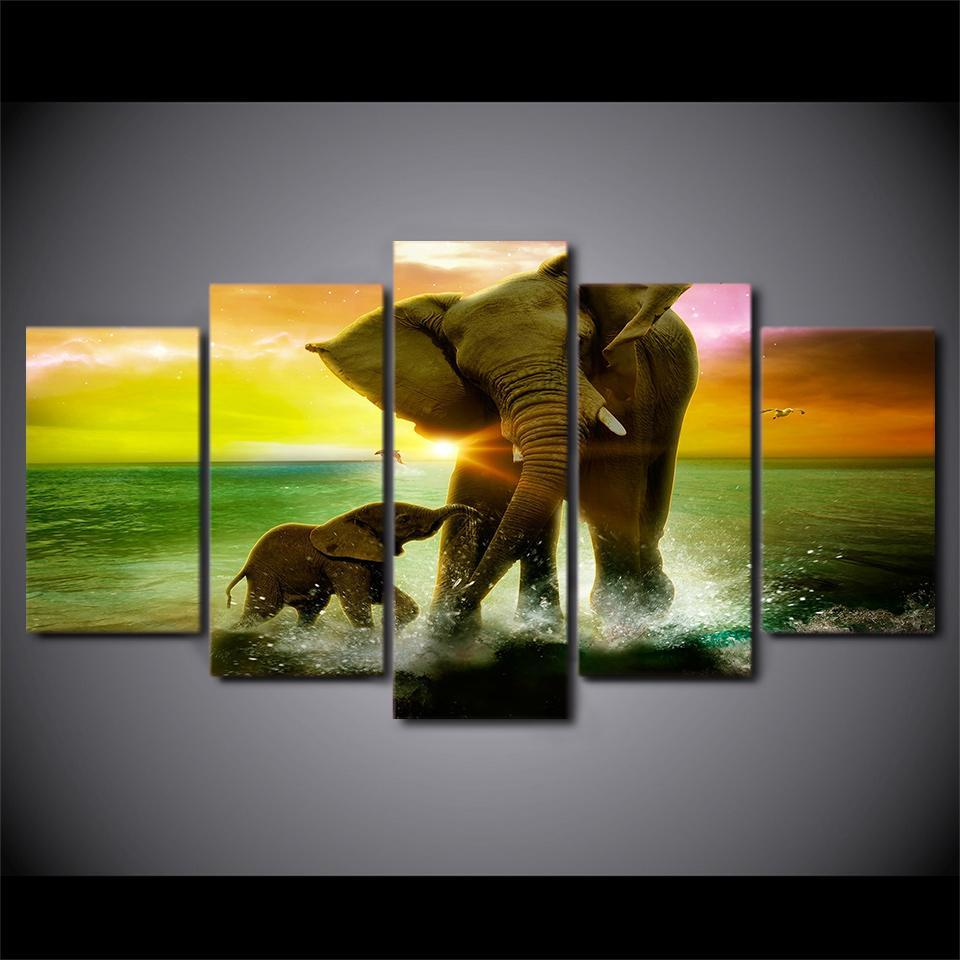 5 Piece Elephant Water Canvas Wall Art Paintings - It Make Your Day