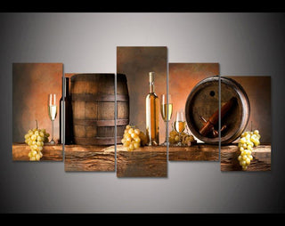 5 Piece Wine Barrel 5 Canvas Wall Art Sets - It Make Your Day