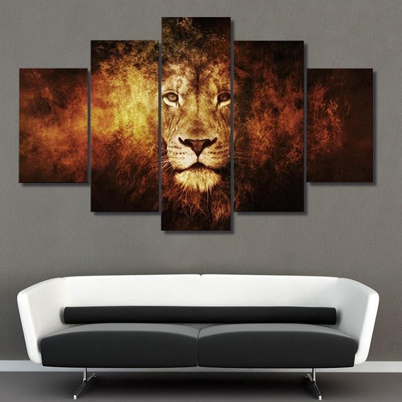 5 Piece Lion Animal Large Canvas Painting Nature - It Make Your Day