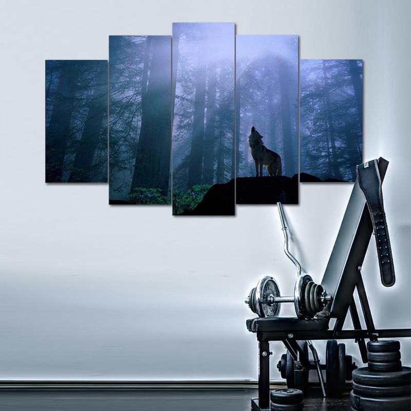 5 Piece Lone Wolf Howl Large Canvas Painting Nature - It Make Your Day