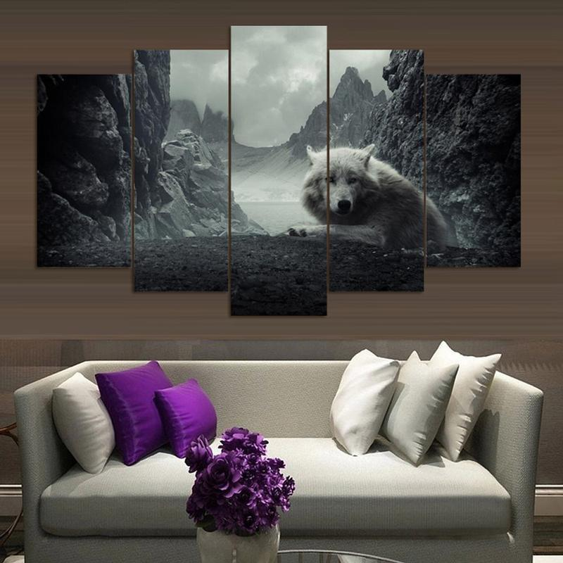 5 Piece Lone Wolf Large Canvas Painting Nature - It Make Your Day