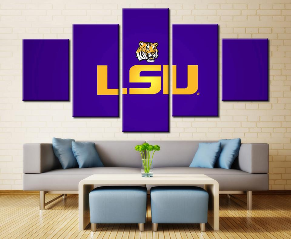 5 Piece LSU Tigers Football Team Sport Canvas Painting Frames - It Make Your Day