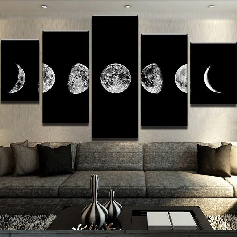 5 Piece Lunar Cycles Canvas Wall Art Paintings - It Make Your Day