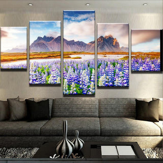 5 Piece Lupine Flowers Canvas Wall Art Paintings - It Make Your Day