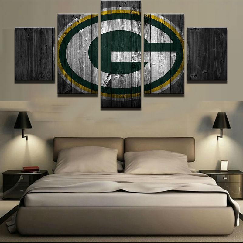 5 Piece Green Bay Packers Football Barn Wood Canvas Paintings - It Make Your Day