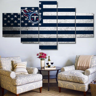 5 Piece Tennessee Titans Football American Flag Canvas Paintings - It Make Your Day