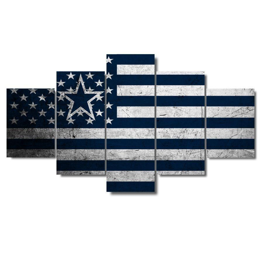 5 Piece Dallas Cowboys American Flag Canvas Paintings - It Make Your Day