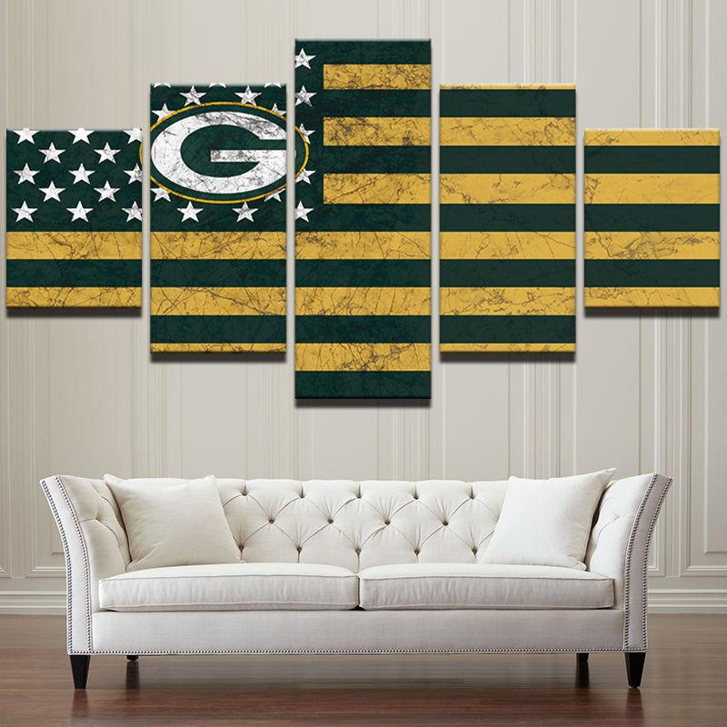 5 Piece Green Bay Packers American Flag Canvas Paintings - It Make Your Day