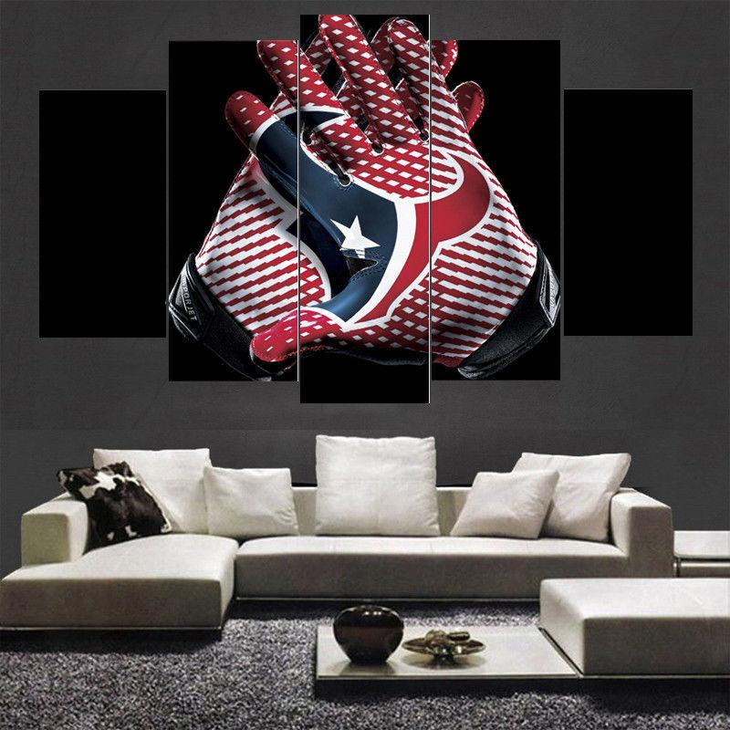 5 Piece Houston Texans Gloves Wall Art Canvas Paintings - It Make Your Day