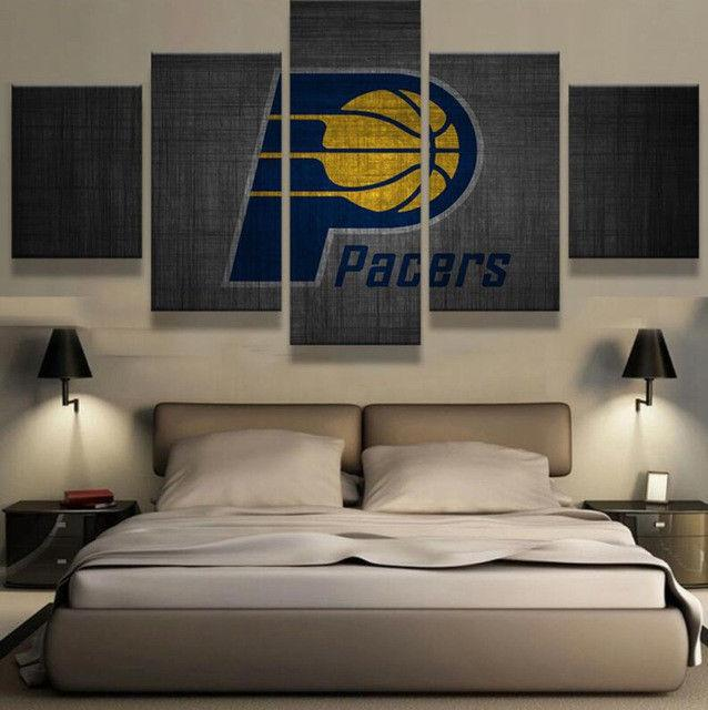 5 Piece Indiana Pacers Basketball Canvas Print Wall Art - It Make Your Day