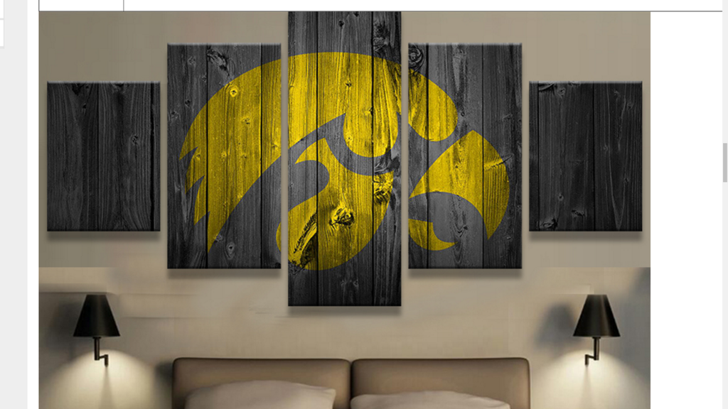 5 Piece Iowa Hawkeyes College Barn wood style Canvas Wall Art For ...