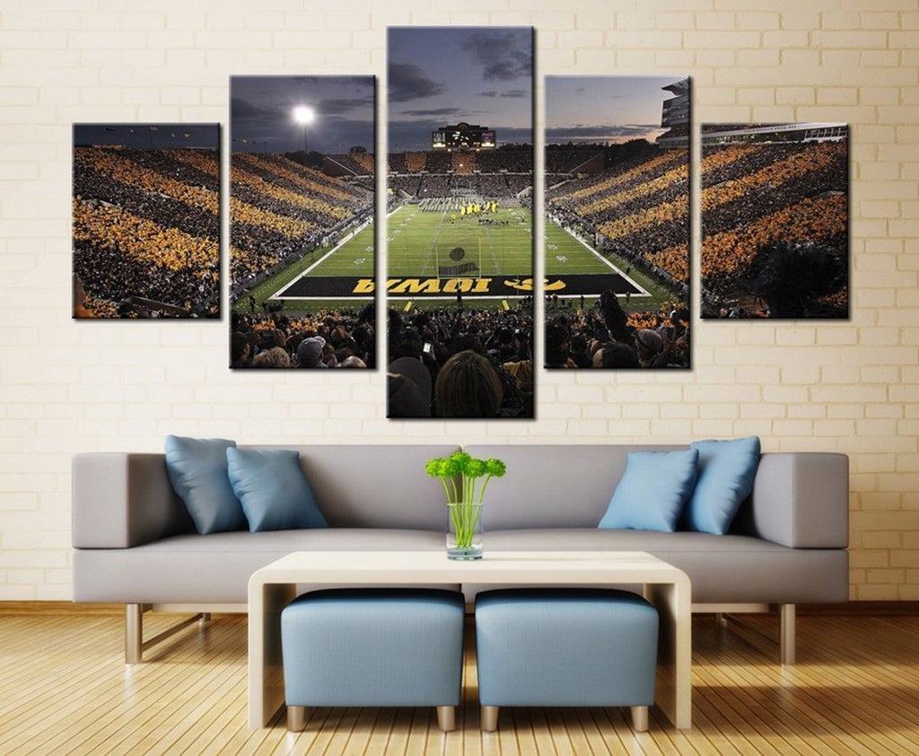 5 Piece Iowa Hawkeyes Stadium Football Canvas Wall Art Paintings - It Make Your Day