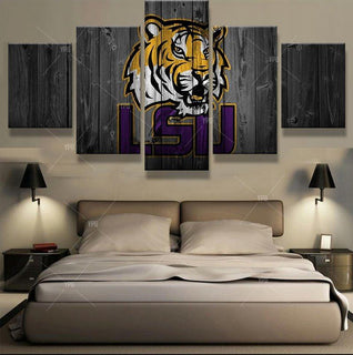 5 Piece LSU Tigers College Football Team Sport Canvas Painting Frames - It Make Your Day