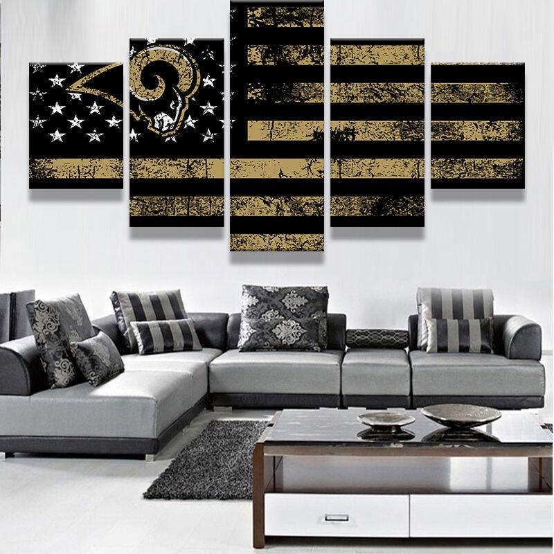5 Piece Los Angeles Rams Football Flag Canvas Paintings - It Make Your Day