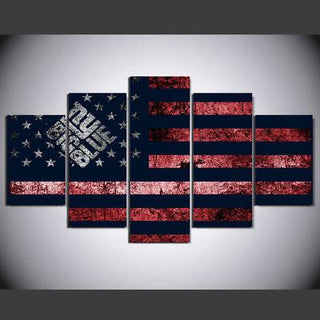 5 Piece New York Giants American Flag Canvas Paintings - It Make Your Day