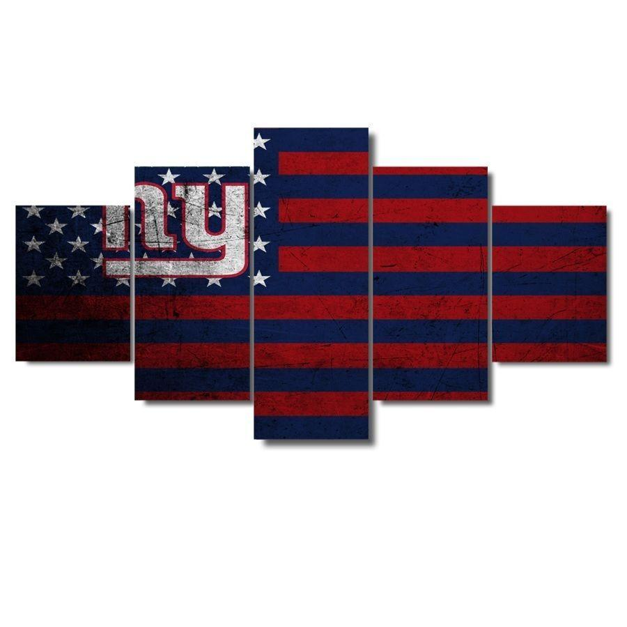 5 Piece New York Giants Flag Canvas Paintings - It Make Your Day
